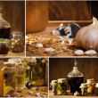 Collage of stocks jar in the basement with small mouse — Stockfoto