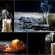 Collage with candles on feast of dead — Stockfoto #18558261