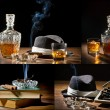 Collage of retro-Styled old typewriter, cigar, hat and whisky no - Stock Photo
