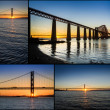 Postcard from sunset over the Forth Road Bridge in Scotland — Stock Photo