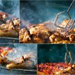 Stock Photo: Collage of fried chicken on grill