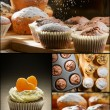 Stock Photo: Collage of different types of muffins no. 2