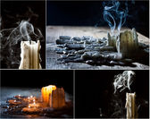 Collage met kaarsen op het feest van de doden — Stockfoto