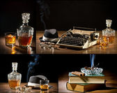 Collage of retro-Styled old typewriter, cigar, hat and whisky no — Stock Photo