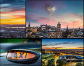 Postcard from Edinburgh at night — Stock Photo