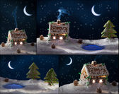 Poster gingerbread cottages for Christmas — Stock Photo