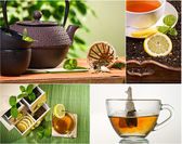 Collage of healthy green tea no. 1 — Stock Photo