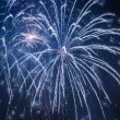 Blue big fireworks during celebrations at night — Stock Photo #19032319
