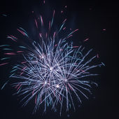 Three fireworks during the celebrations at night — Stock Photo