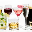 Stock Photo: Different kinds of alcohol on white background