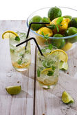Fresh cold drink lemon with mint — Stock Photo