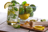 Closeup of cold drink with citrus — Stock Photo