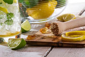 Closeup of the ingredients cold citrus drink — Stock Photo