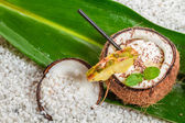 Pinacolada drink with chocolate and pineapple — Stock Photo