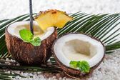 Pinacolada drink in the fresh coconut — Stock Photo