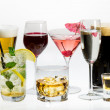 Stock Photo: Various types of alcohol on white background