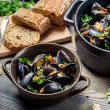 Closeup of homemade way of serving mussels - Stock Photo
