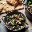 Fresh mussels prepared at home - Stock Photo