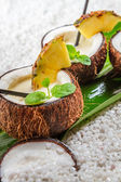Pinacolada drink with fresh mint leaves — Stock Photo