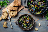 Closeup of fresh ingredients to prepare mussels — Stock Photo