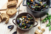 Fresh mussels served in a sunny day — Stockfoto