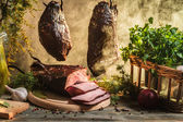 Freshly smoked ham in country smokehouse — Zdjęcie stockowe