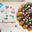 Stock Photo: Easter cake with chocolate glaze