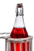 Beyaz zemin üzerine kırmızı suyu şişesiyle odl — Stok fotoğraf