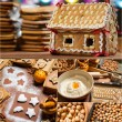 Homemade gingerbread cottage for Christmas - Stock Photo