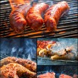 Fried meat on the grill — Stock Photo