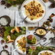 Wild mushrooms soup and moss from forest — Stock Photo #21589577