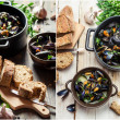 Mussels served with bread — Stock Photo