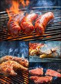 在烤架上煎的肉 — 图库照片