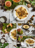 Wild mushrooms soup and moss from forest — Stock Photo