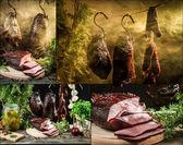 Obszarów wiejskich wędzarni z szynkę domowe — Zdjęcie stockowe