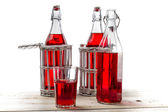 Vintage bottles with red juice on white background — Stock Photo