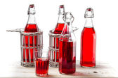 Bottles with red juice on white background — Stock Photo