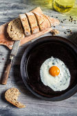 Fried egg on a pan — Stock Photo