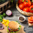 Homemade burger made from vegetables and meat — Stock Photo #22920714