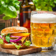 Stock Photo: Closeup of fresh burger and cold beer
