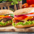 Stock Photo: Closeup of two homemade burgers made from fresh vegetables