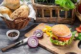 Homemade hamburger with chicken and onion — Stock Photo