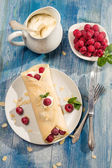 Pancakes with raspberry and whipped Cream — Stock Photo