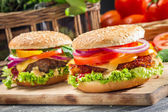 Closeup of two homemade burgers made from fresh vegetables — Stock Photo