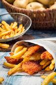 Closeup of homemade Fish & Chips — Stock Photo