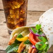 Kebab served with cold cola — Stock Photo #23532011