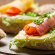 Closeup of Fesh sandwich made of chive, ham lettuce and cheese — Stock Photo