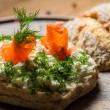 Sandwich with cottage cheese, salmon and dill — Stock Photo