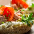 Sandwich with cottage cheese, tuna and peas — Stock Photo