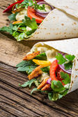 Kebab with vegetables and chicken — Stock Photo